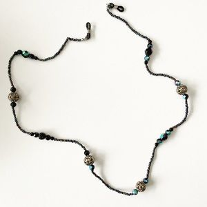 Chic black & blue holographic bead glasses chain